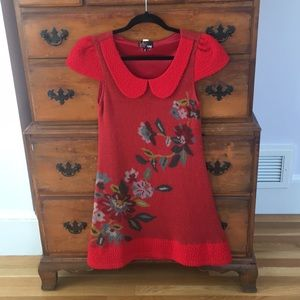 Red Yumi Dress Peter Pan Collar Small
